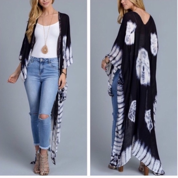 7b4a1cceb8 Boho Kimono Duster Long Black Tie Die Cover Up